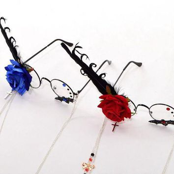 PEAPON Fantasy Girls Steampunk Cosplay Accessory Gothic Rose Feather Cross Pendant Glasses with Chain