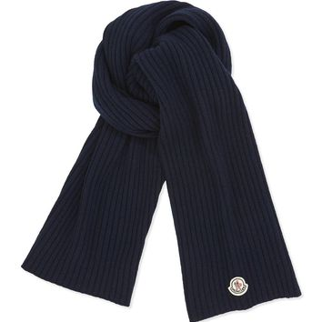 Men's Cashmere Solid Ribbed Knit Scarf, NAVY - Moncler