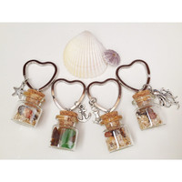 Xmas Sale 20% off - Hawaiian Treasures Heart Glass Vial Keychain