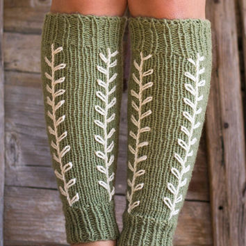 Pure Wool Sage Green Leg Warmers with Hand Embroidered White Leaves, Nature Inspired Hand Knitted Accessories, French Country