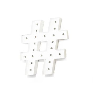 """24"""" Hashtag """"#"""" Vintage Marquee Lights Sign (White Finish)"""
