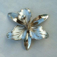 Orchid Brooch Enameled Silver Gold Pin Floral Vintage Jewelry