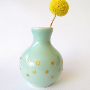 Bud Vase - Mint and Gold - Hand Painted Polka Dots