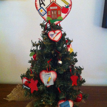 Teacher Tree (12 inch) with lights decorated with teacher/school theme