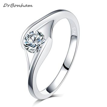 Europe and USA bezel setting zirconia AAA CZ Crystal titanium steel engagement rings for Women