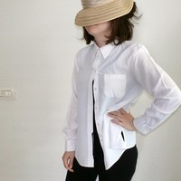 White Women's Shirt, Classic Button down Front Pocket Padded Shoulders Blouse, Long sleeve, Formal Women Secretary top, Back to school, M