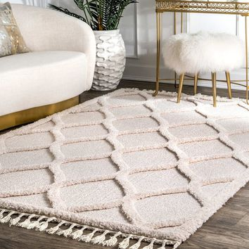 nuLOOM Plush High Low Trellis Kids Tassel Shaggy Ivory Area Rug (5'3'' x 7'6'') | Overstock.com Shopping - The Best Deals on 5x8 - 6x9 Rugs
