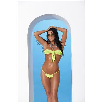 Elegant Moments 82172 Extreme Micro Lime Green Ruffle Bandeau Top & G-String Thong Bikini