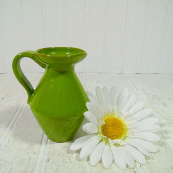 Vintage Boho Lime Green Vase Petite Clay Pitcher - Apple Green Ceramic Syrup Pitcher - Small Mid Century Mod Creamer - Mini Mommy Flower Pot