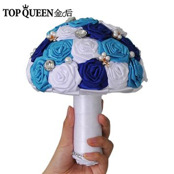 TOPQUEEN F6-BL In Stock Wedding Bouquet Blue Rose Bridesmaid Flowers Artificial Sapphire Pearl Bridal Bouquets