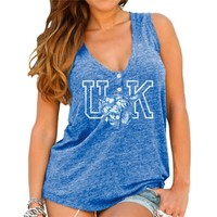 Womens Kentucky Wildcats Original Retro Brand Royal Blue Relaxed Henley Tank Top