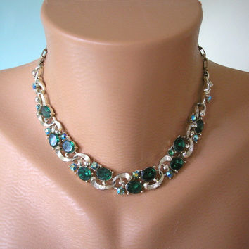 Lisner Necklace, Wedding Jewelry, Bridal Necklace, Signed Lisner, Green Rhinestone Choker, Aurora Borealis Choker, Vintage Lisner Moss Green