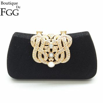 Boutique De FGG Vintage Women Crystal Black Metal Clutches Evening Minaudiere Bag Bridal Wedding Parry Dinner Handbag Purse