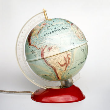 Mid Century Vintage World Globe Light / 50's Globe Lamp / Desk Globe Lamp / Library Lighting / Germany