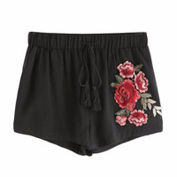 Rose Embroidered Tassel Drawstring Shorts