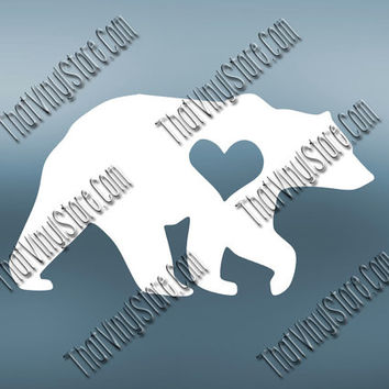 Preppy Bear Heart Love Decal | Mama Bear Decal | Papa Bear Decal | Preppy Grizzly Decal| Preppy Animal Decal | Love Animal Decal | 563