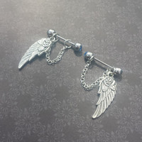 Wings and Chain 14G Barbell SET OF 2 Nipple Barbells