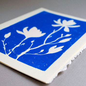 Magnolia Blank Notecard Sapphire Blue Linocut by CursiveArts