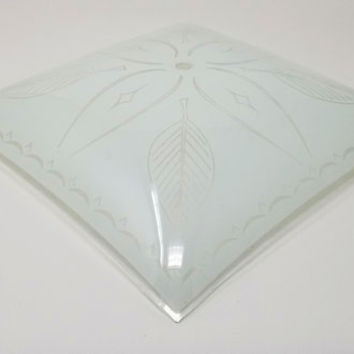 Mid Century Glass Ceiling Light Fixture  Square Glass Shade, Light Cover Ceiling Light