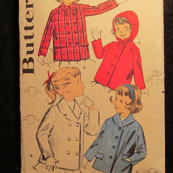 Sale 1960's Butterick Sewing Pattern, 9522! Size 6 Girls/Kids/Child/Collared Jackets/Rain Coats/Button Up Coat/Winter Coats/Below Hip Jacket