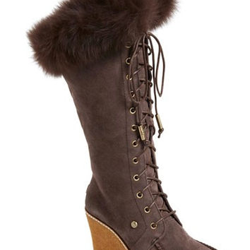 'Mandinka' Genuine Shearling Wedge Boot with Genuine Fox Fur Trim (Women)