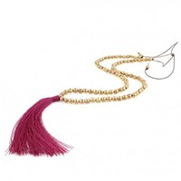 Long Raspberry and Gold Toned Tie Tassel Necklace