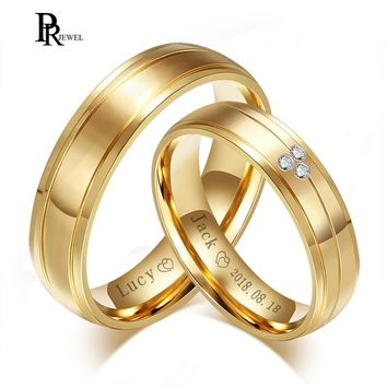 Gold Tone Wedding Bands Rings for Women Men Free Engraving Name Date Love Stainless Steel Alliance Promise Dating Gifts