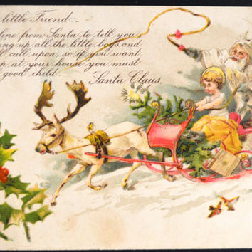 Santa Postcard Christmas Santa with Elf and Sleigh