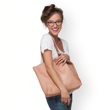Large peach leather bag by Leah Lerner