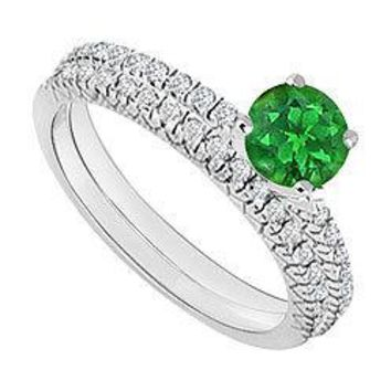 14K White Gold : Emerald and Diamond Engagement Ring with Wedding Band Set 1.00 CT TGW