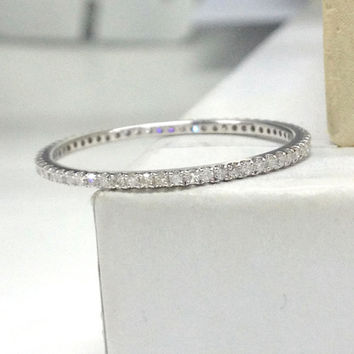 Full Eternity Diamond Wedding Ring 14K White Gold,Pave Set Round Cut Diamond,Matching Band,Anniversary Fine Ring,Stacking Ring,Thin Design
