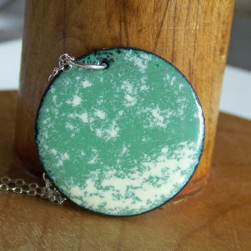 Etsy, Etsy Jewelry, Enamel Necklace:  Sage and Cream Enamel on Copper Disc Necklace, Enamel, Necklace, Green Necklace