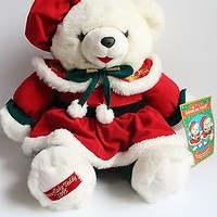 SNOWFLAKE TEDDY 1995 Vintage White Christmas Teddy Bear, gift for child