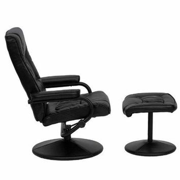 Black Faux Leather Recliner Chair and Ottoman