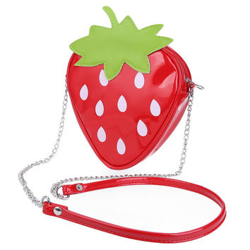 Kawaii Cute Red Strawberry Shaped Dot Print Girls' Shoulder Messenger Bags Small PU Hard Phone Purse Stereotypes Chain Handbag