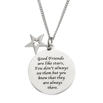 """Stainless Steel """"Good Friends"""" BFFs Pendant Necklace"""