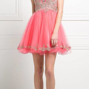 Bateau Neck Coral Embroidered Homecoming Short Dress Tulle