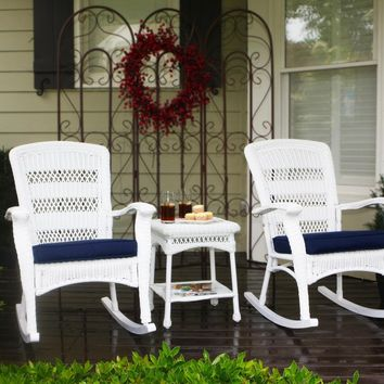 Tortuga Outdoor 3pc Portside Plantation Wicker Rocking Chair Set