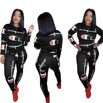 Champion Fashion New More Letter Print Sports Leisure Long Sleeve Top And Pants Two Piece Suit Black