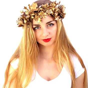 Gold leaf Crown, Real Dried leaves Headband, Natural Headpiece,  Greek Goddess, Holiday flower crown, Woodland Hair Wreath