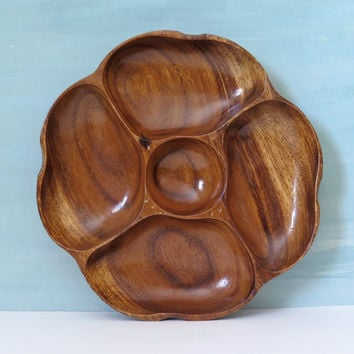 Monkey Pod Wooden Divided Tray / Bowl by Alii Woods Hawaiian Crafts Inc