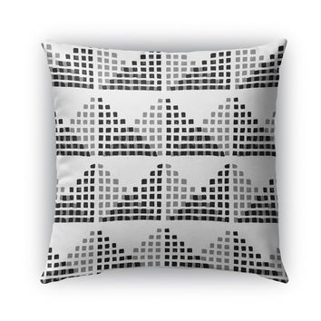 EDITH BLOCK PRINT BW Indoor|Outdoor Pillow By Becky Bailey