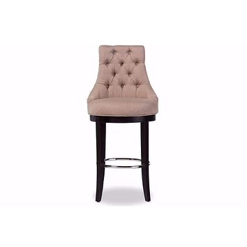 Harmony Modern Fabric Upholstered Bar Stool with Metal Footrest By Baxton Studio