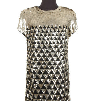 Marchesa Notte Gold Sequin Dress