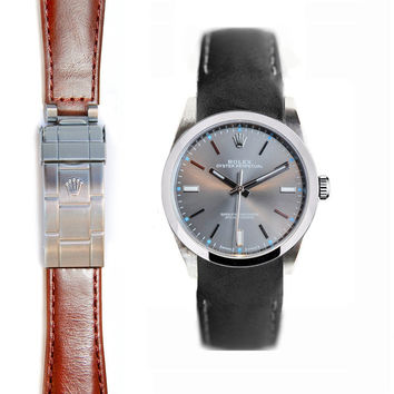 Everest Curved End Leather Strap for Rolex Oyster Perpetual 39mm Deployant Buckle