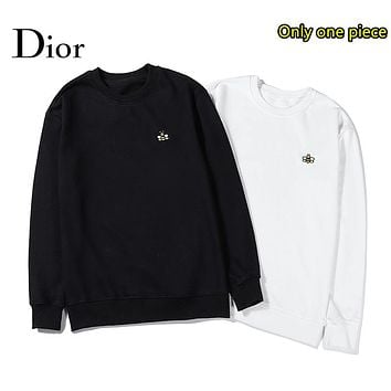 Dior autumn and winter fashion casual high-density embroidery cotton round neck sweater