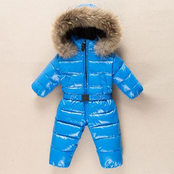 Baby Outerwear Newborn Winter Romper Boys Parka Girls Snowsuit Duck Down Jumpsuit Infant Coats Fur Collar Hoodie Kids Clothes