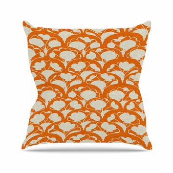 "Michelle Drew ""Art Deco In Orange"" White Throw Pillow"