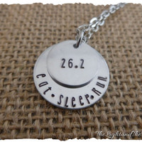 Runners Necklace - Marathon - 26.2 13.1 5k 10k 15k custom - hand stamped jewelry - stamped metal - runner - gift for runner track and field