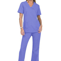 Natural Uniforms mock wrap solid two piece scrub set.